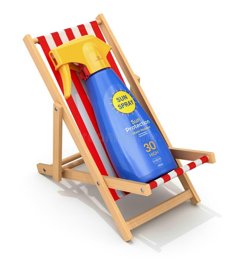 Pulverizador de Sun na cadeira de praia ilustração royalty free