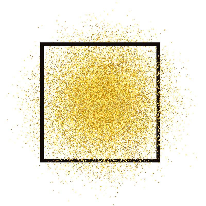 Pulverizador do brilho do ouro com quadro Vetor dourado dos sparkles isolado no fundo Textura da poeira de estrela, lig ilustração royalty free