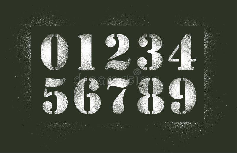 Pulverizador do estêncil dos números ilustração stock