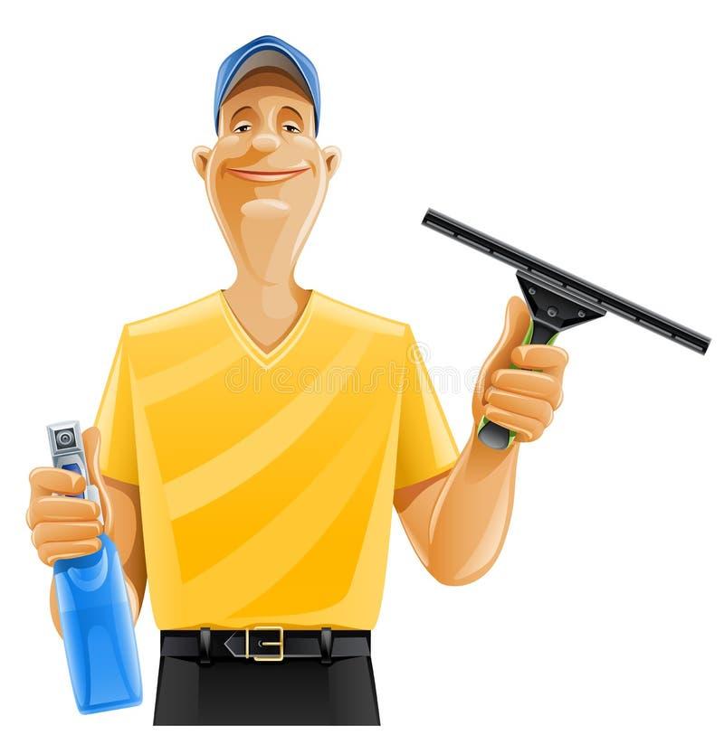 Pulverizador do rodo de borracha do indicador da limpeza do homem ilustração royalty free