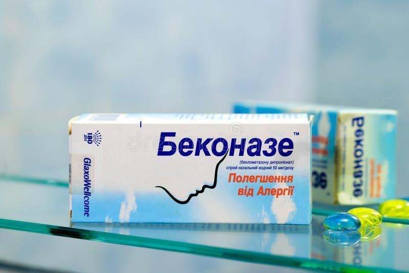 Pulverizador nasal da alergia de Beconase imagem de stock