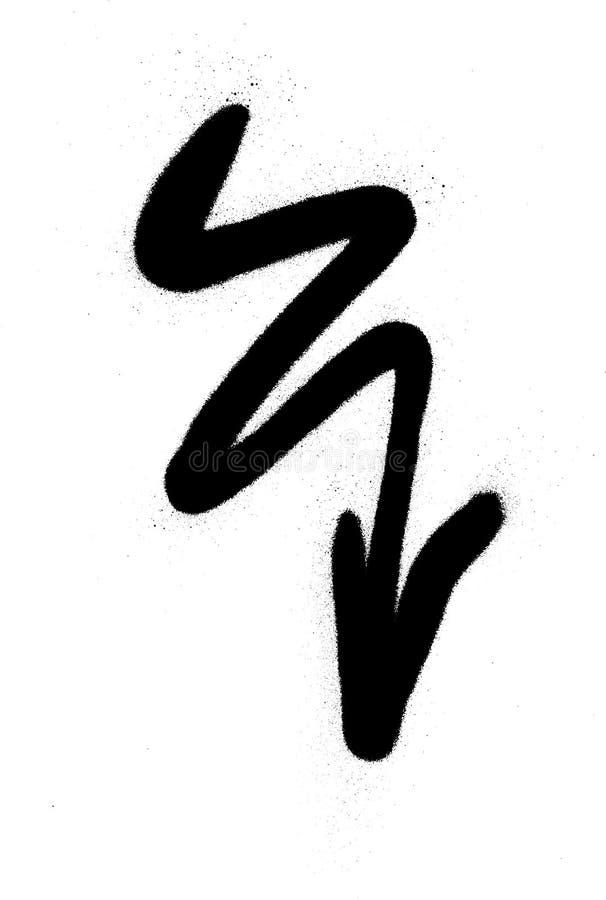 Pulverizador ondulado da seta dos grafittis no preto no branco ilustração royalty free