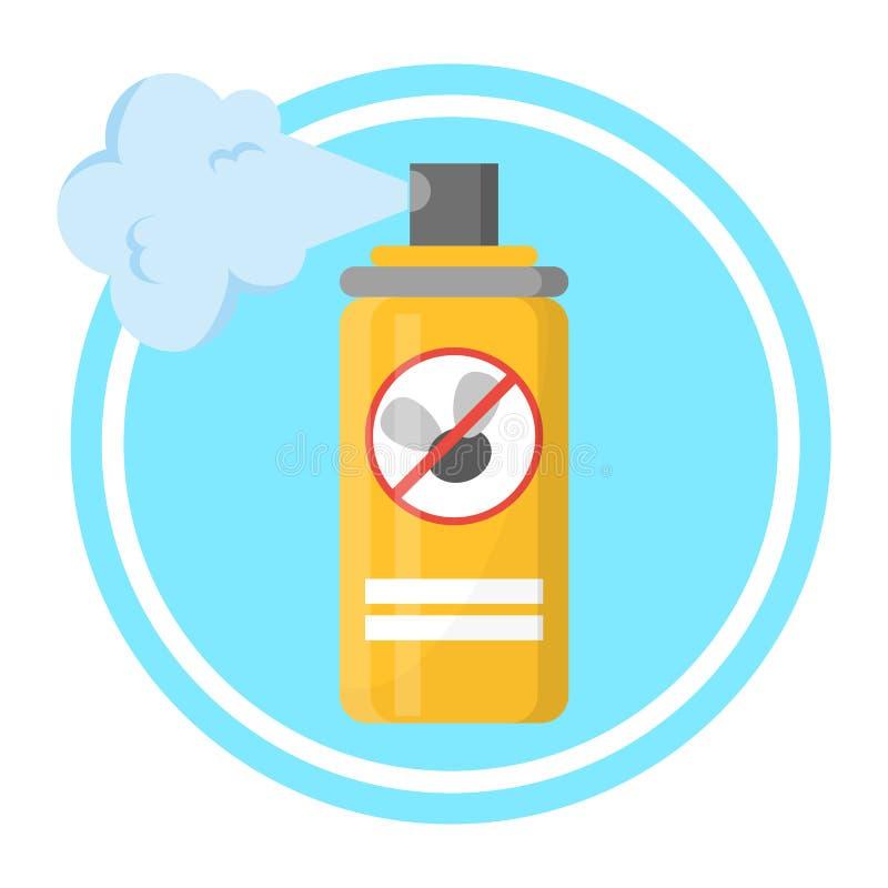 Pulverizador repelente na garrafa amarela prote??o ilustração stock