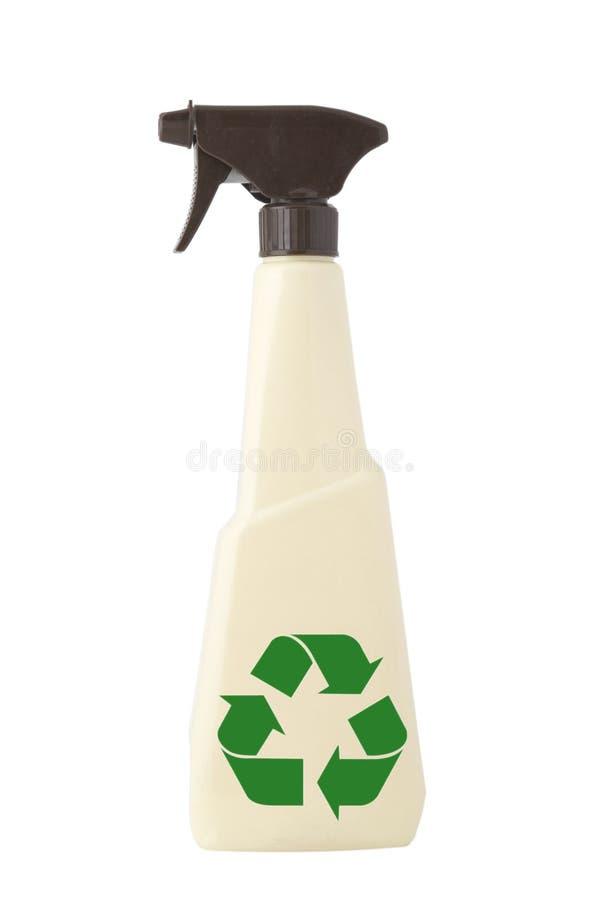 Pulverizador tan de limpeza e recicl do sinal foto de stock