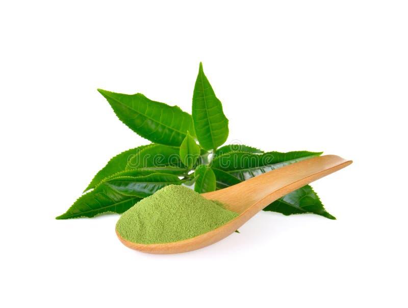Pulverize o chá verde e a folha de chá verde no branco fotografia de stock royalty free