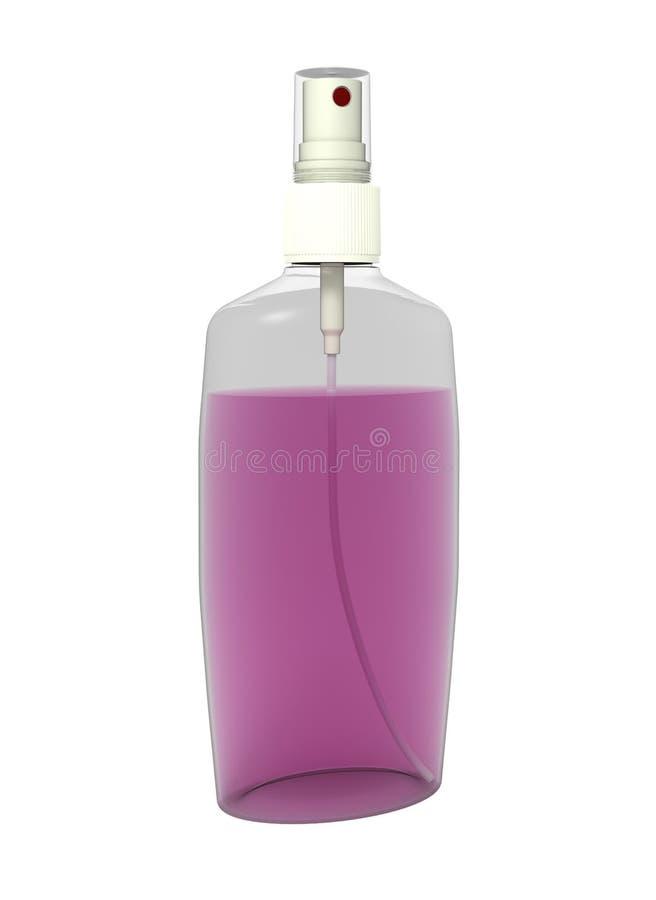 Pulverize o frasco com o líquido cor-de-rosa, isolado no branco ilustração royalty free