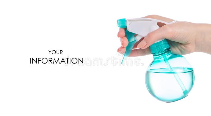 Pulverizer water voor installaties in hand patroon stock foto