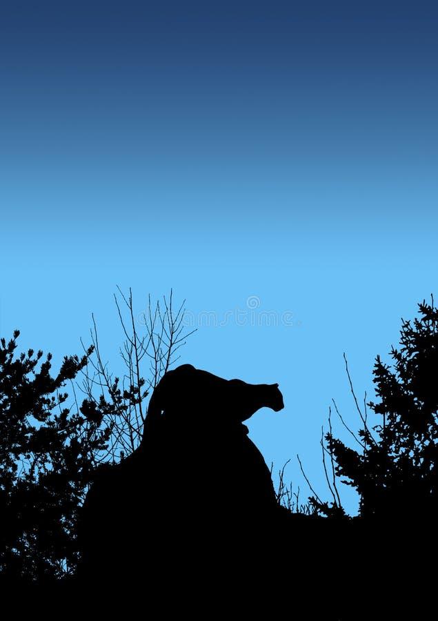 Puma égrappant Sur Le Bleu Photographie stock libre de droits