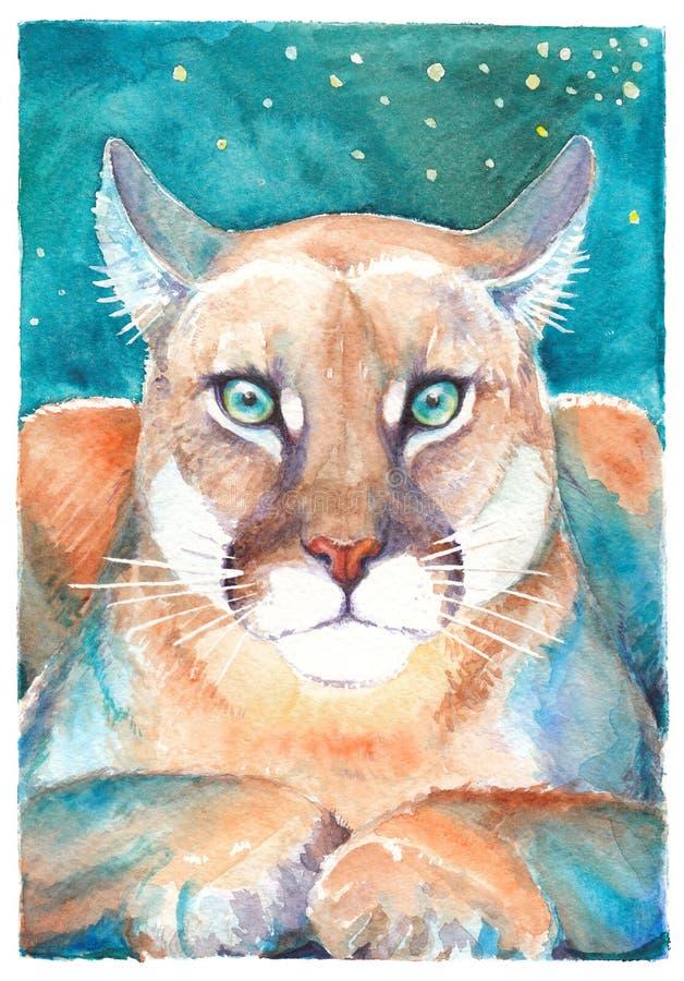 Puma, άγρια γάτα, που σύρει το watercolor ελεύθερη απεικόνιση δικαιώματος