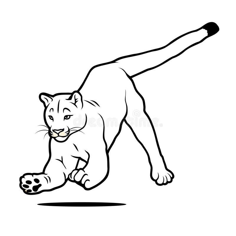 Puma de salto isolado ilustração do vetor