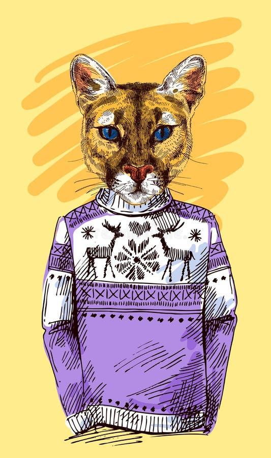 Puma en suéter hecho punto ilustración del vector