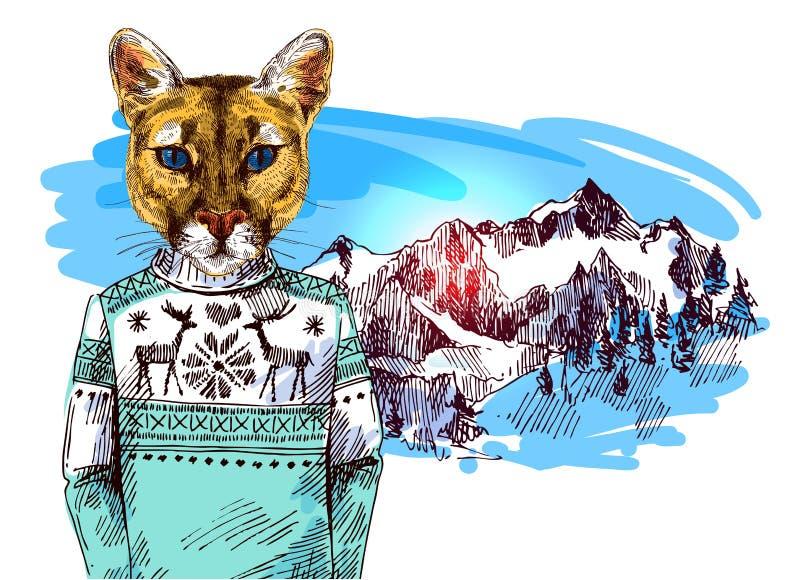 Puma in gestrickter Strickjacke in der Gebirgslandschaft stock abbildung