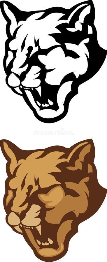 Puma-Hauptmaskottchen-vektorzeichen lizenzfreie abbildung