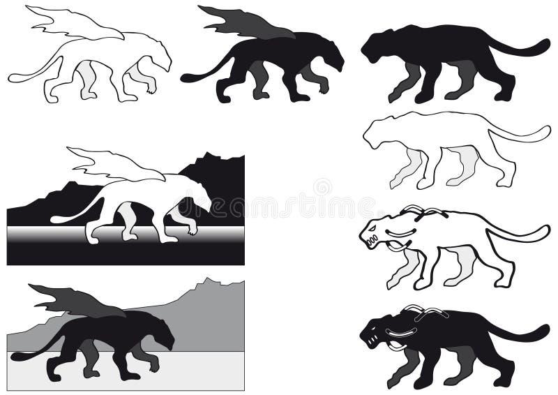 Puma i Gryphon sylwetka royalty ilustracja