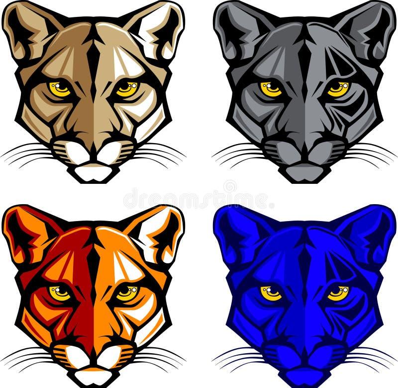 Puma-/Leoparden-Maskottchen-Zeichen vektor abbildung