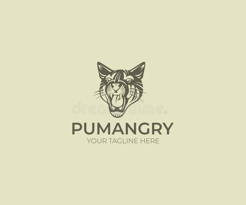 Puma Logo Template. Cougar Vector Design. Animal Silhouette royalty free illustration