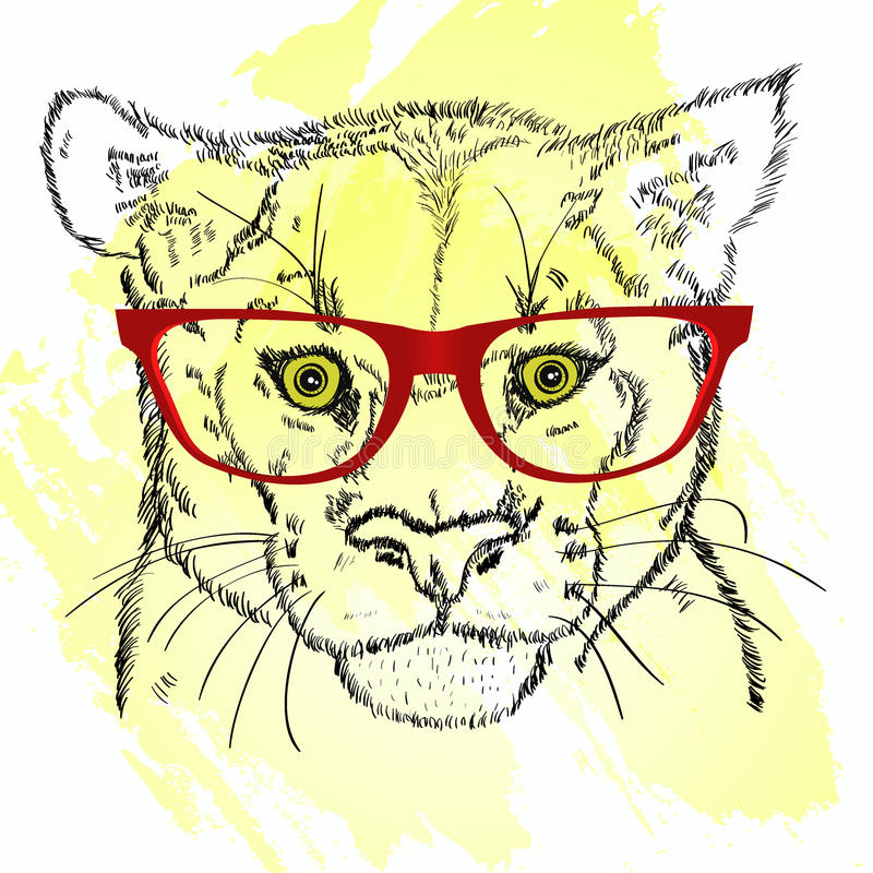 Pumahauptskizze mit Gläsern vektor abbildung