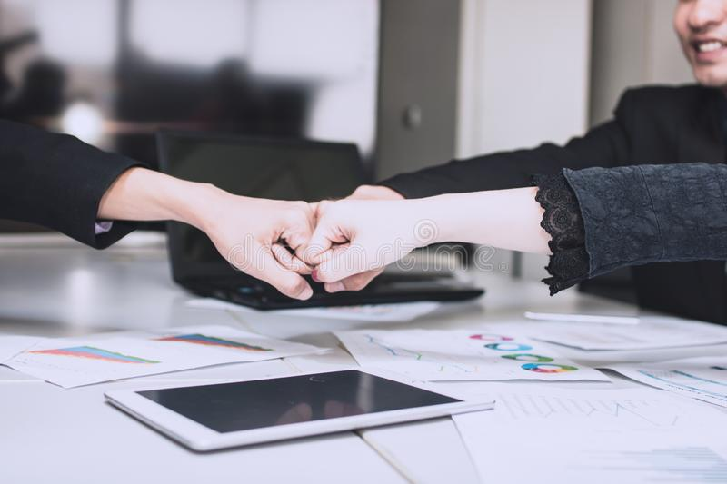 Pump hand for teamwork concept as business meeting royalty free stock image