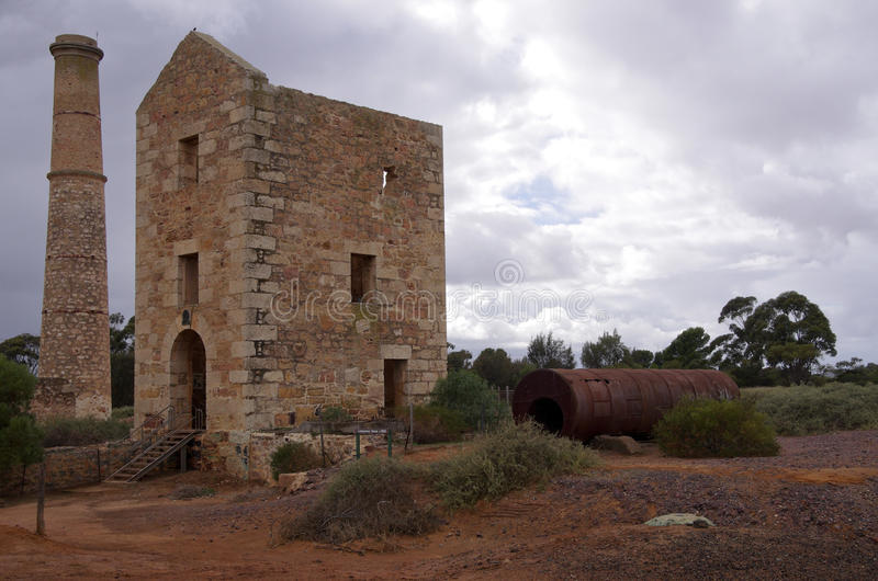 Pump house Moonta. The pump house ruins of the copper mine at Moonta, South Australia royalty free stock photo