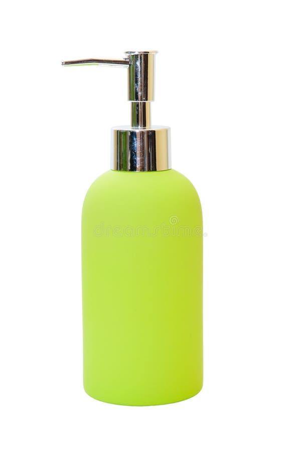 Pump Plastic Bottle. Gel, Foam Or Liquid Soap Dispenser Pump Plastic Bottle green. isolated on white royalty free stock photo