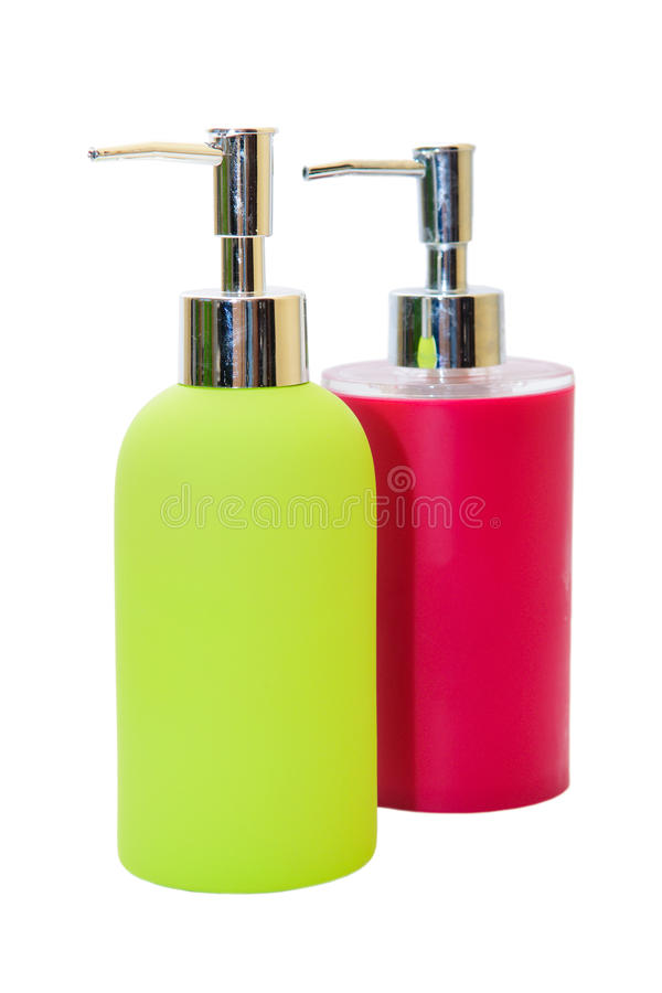 Pump Plastic Bottle. Gel, Foam Or Liquid Soap Dispenser Pump Plastic Bottle green and red royalty free stock photography