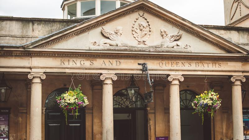 The Pump Room. King`s and Queen`s baths the Pump Room entrance, Bath stock photo