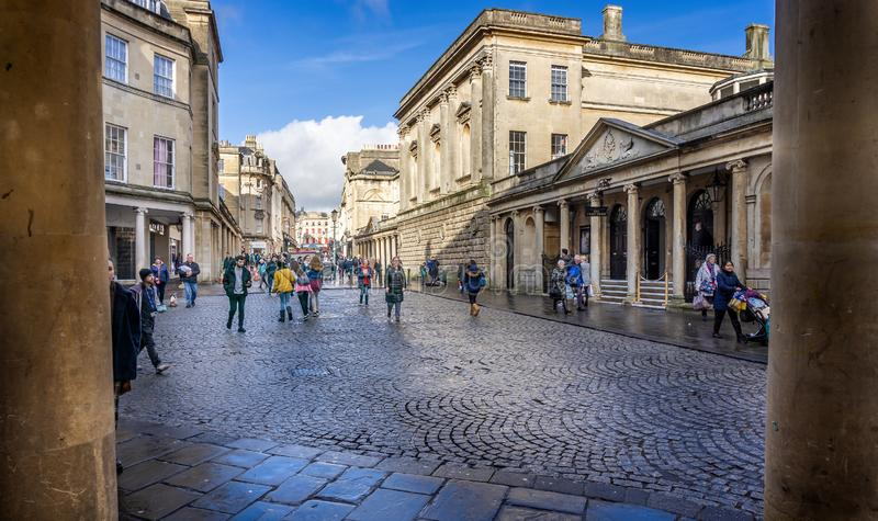 The Pump Room in Stall Street taken in Stall Street, Bath, Somerset, UK. On 4 February 2019 royalty free stock image