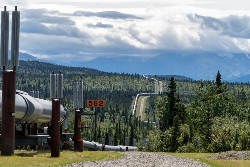 Trans-Alaskan Pipeline transports oil from the Arctic Ocean royalty free stock image