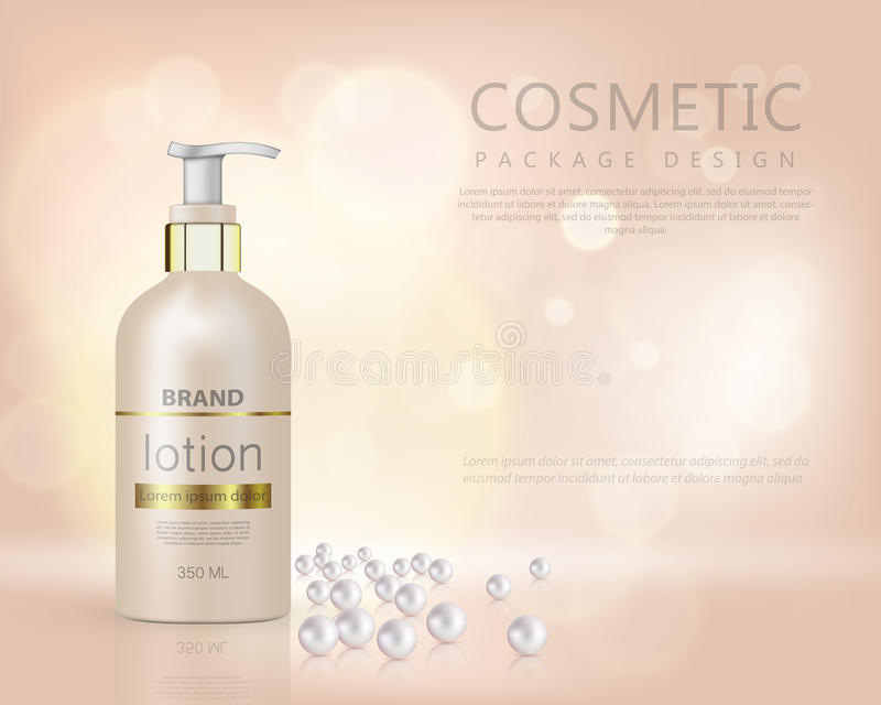 Pump top bottle with organic cosmetic lotion and gold cap decorated with scattering of pearls and glare background realistic. Realistic bottle 3d with soap pump vector illustration