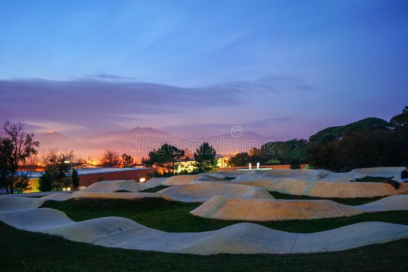 Pump track for bicycles in Ponte de Lima, Portugal royalty free stock image