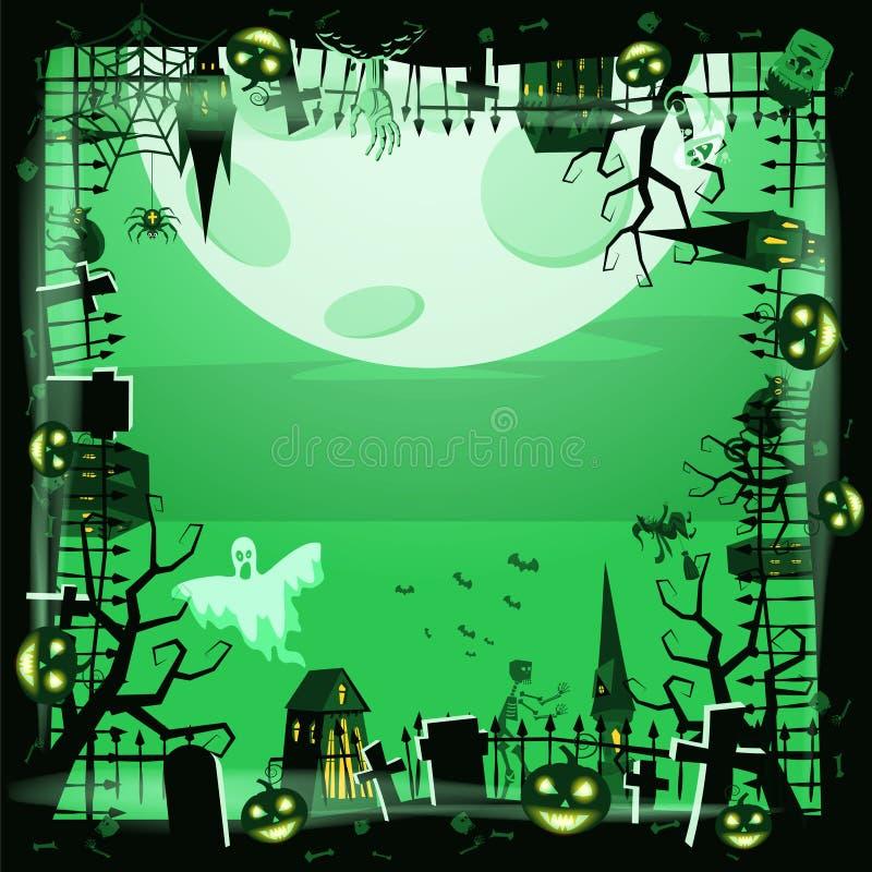 Pumpa för mallallhelgonaaftonferie, kyrkogård, svart övergiven slott, attribut av helgonen för ferie allra, spöke royaltyfri illustrationer
