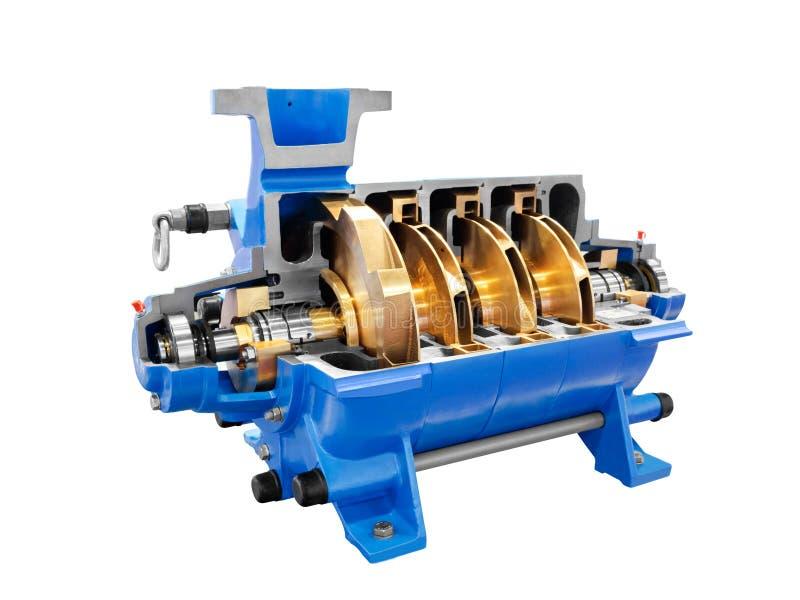 Pumpa för pumpfor för Multistage högtryck förberett av för bränsle, olje- och olje- produkter för vatten som, isoleras på en vit  fotografering för bildbyråer