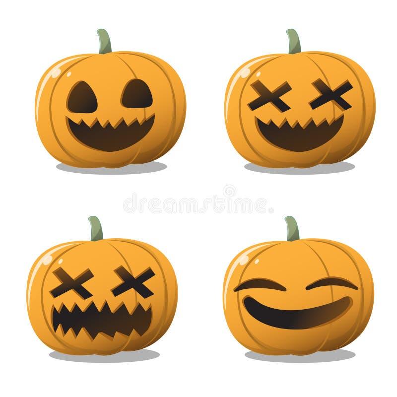 Pumpa halloween ställde in roligt och gulligt vektor illustrationer