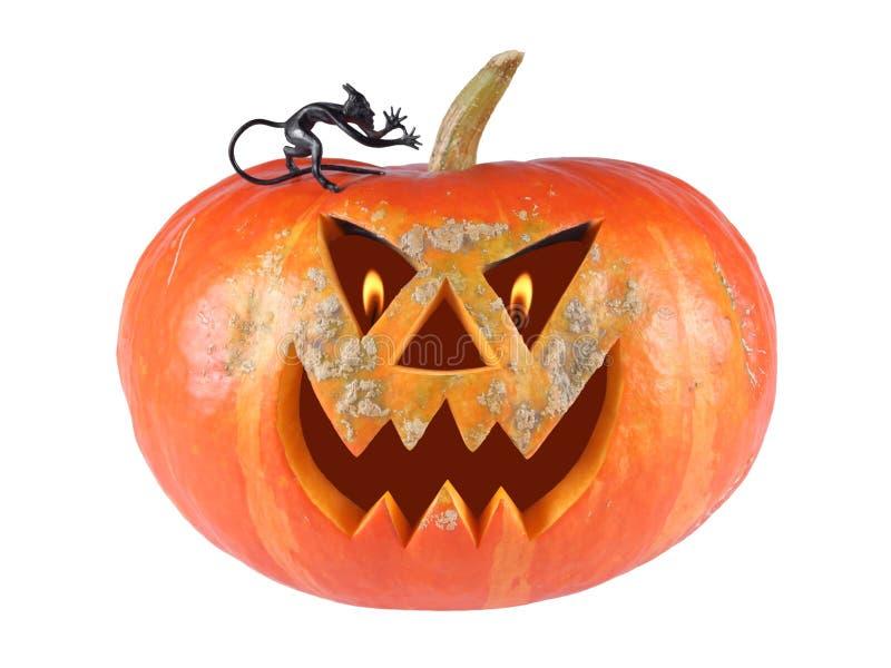 Pumpa halloween, stålar-nolla-lykta ut ur statyettjäkel på vit bakgrund med brännheta flammor i ögonen royaltyfri fotografi