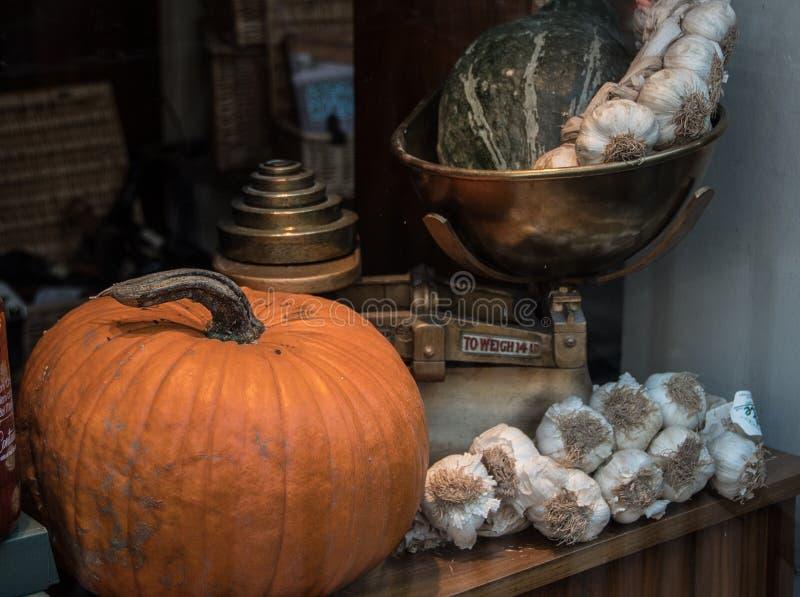 Pumpa-, melon- och vitlökkryddnejlikor arkivbild