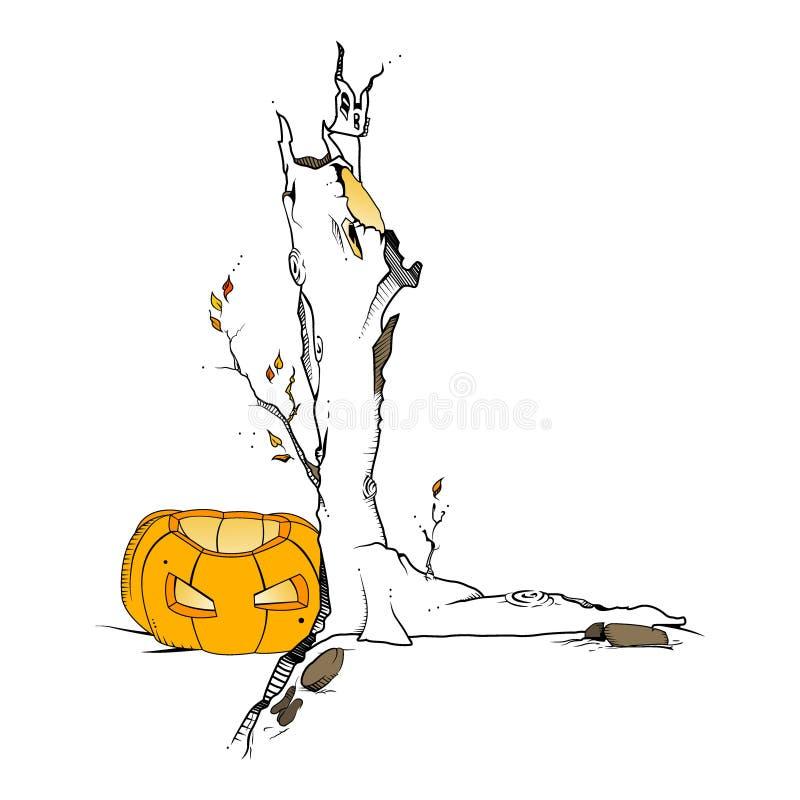 Pumpa nära trädet halloween för designeps för 10 bakgrund vektor för tech vektor illustrationer