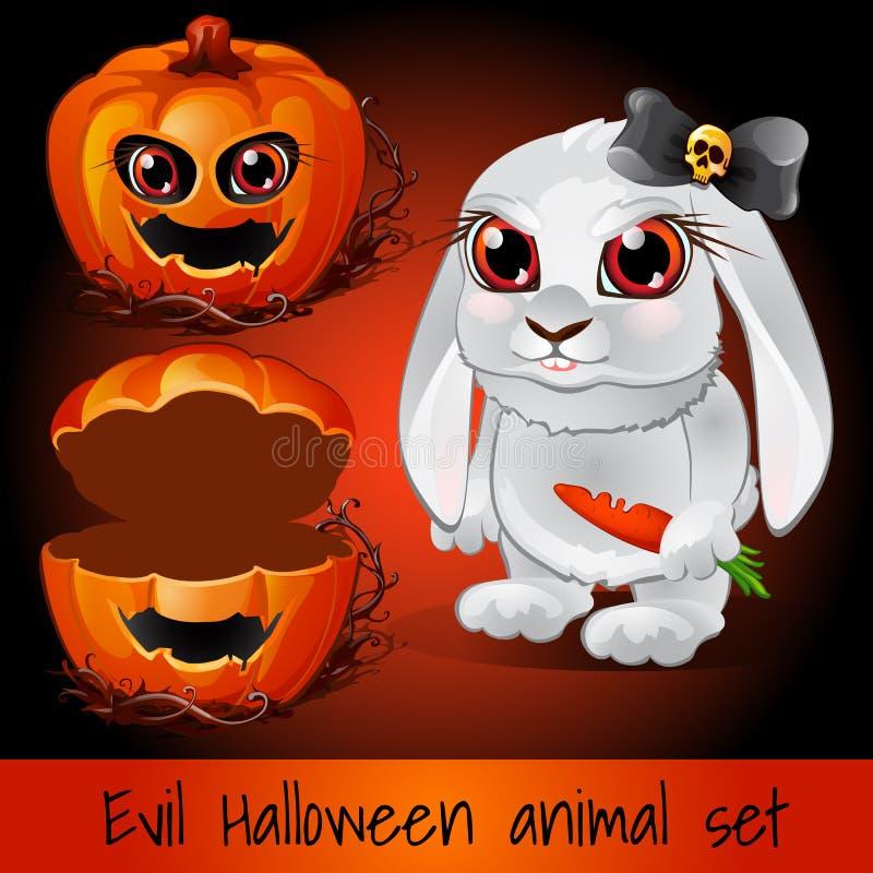 Pumpa och kanin på ett mörker - röd bakgrund royaltyfri illustrationer