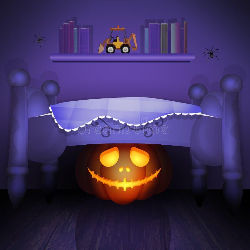 Pumpa under sängen royaltyfri illustrationer