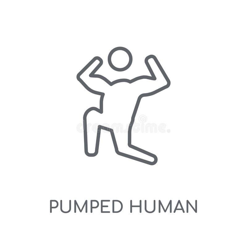 pumpad mänsklig linjär symbol Den moderna översikten pumpade mänsklig logoconce stock illustrationer
