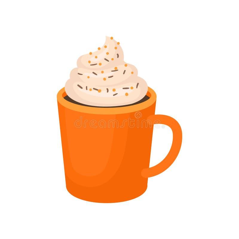 Pumpakryddan piskade latte, traditionell illustration för tacksägelsedrinkvektor på en vit bakgrund vektor illustrationer