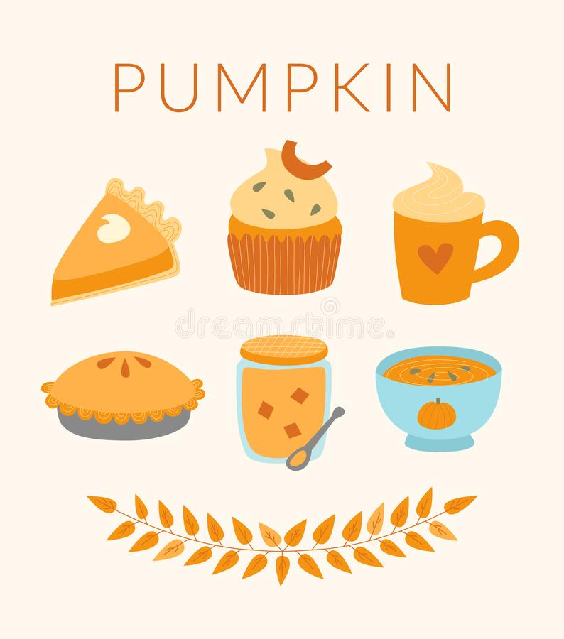 Pumpapaj, latte, muffin, soppa, driftstoppvektorillustration vektor illustrationer