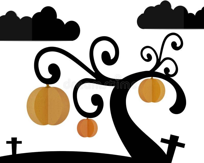 Pumpaträd i kyrkogård och natthimmel i allhelgonaaftonnatt stock illustrationer