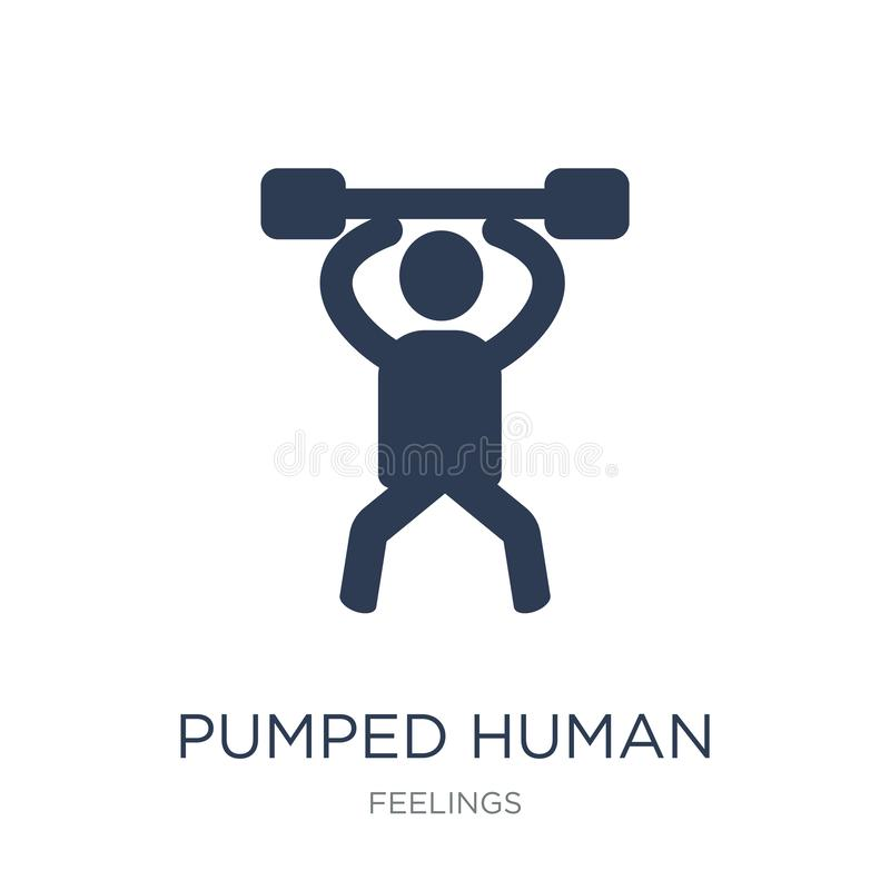 pumped human icon. Trendy flat vector pumped human icon on white stock illustration
