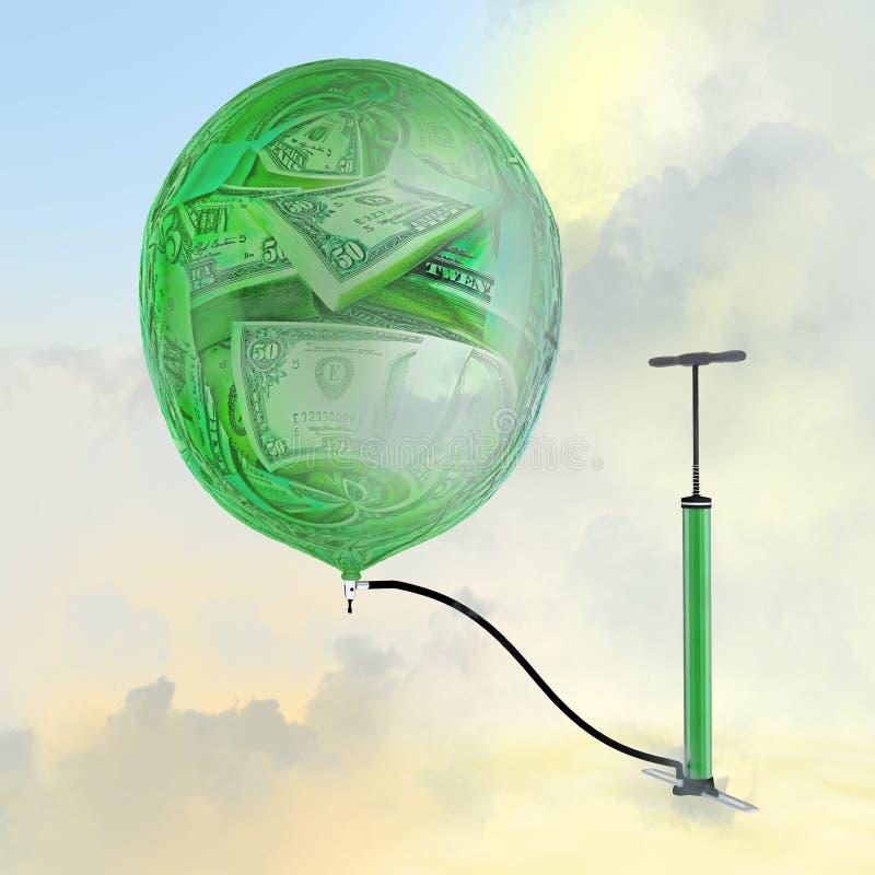 Pumpen, ballongen med bilden av pengar arkivfoton