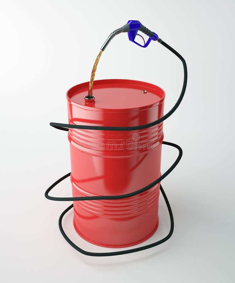 Pumpendüsen mit rotem Fass stock abbildung
