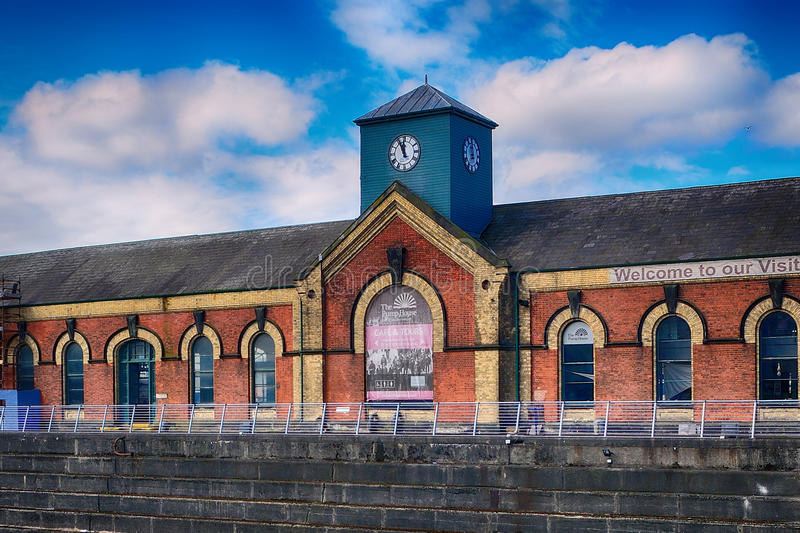 The Pumphouse at the Titanic Quarter, Belfast, Northern Ireland. The Pumphouse at the Titanic Quarter in Belfast, Northern Ireland royalty free stock photography