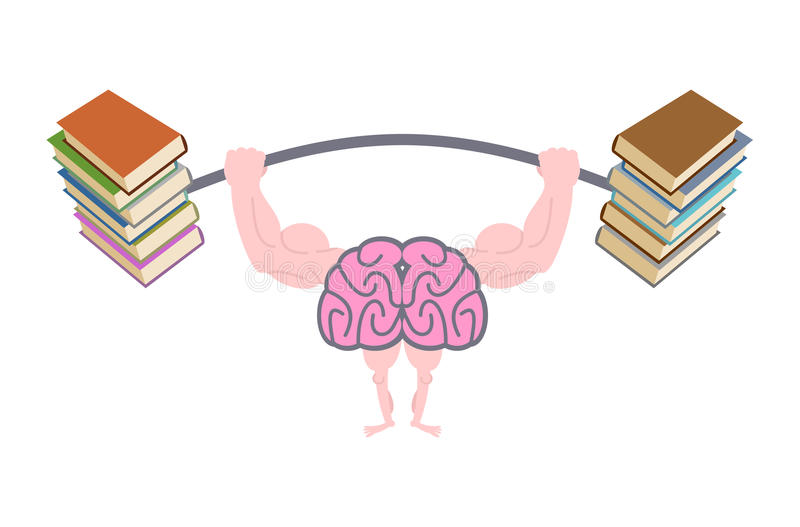 Pumping up brains. Strong brain with big muscles are engaged in royalty free illustration