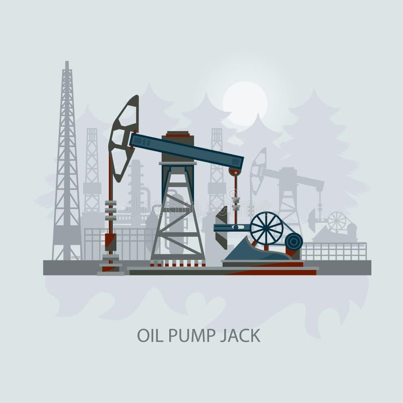 Pumpjack和运转的油泵xOil泵浦,石油工业 皇族释放例证