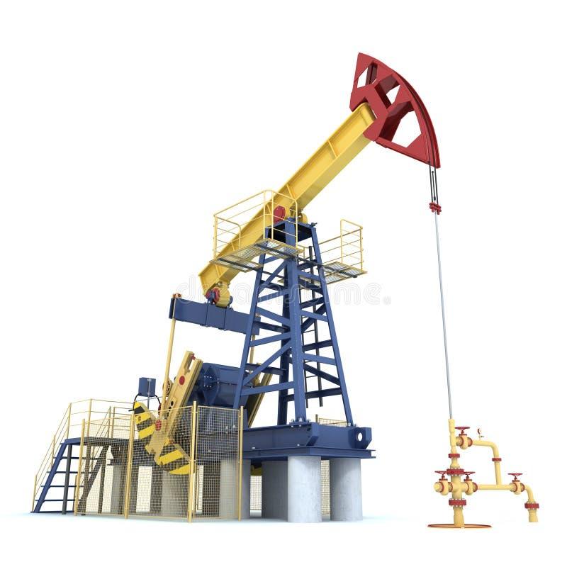 Pumpjack (φορτωτήρας πετρελαίου) σε ένα λευκό (τρισδιάστατο δώστε) απεικόνιση αποθεμάτων