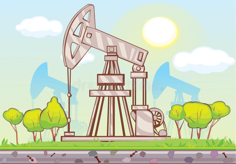 Pumpjack illustration stock